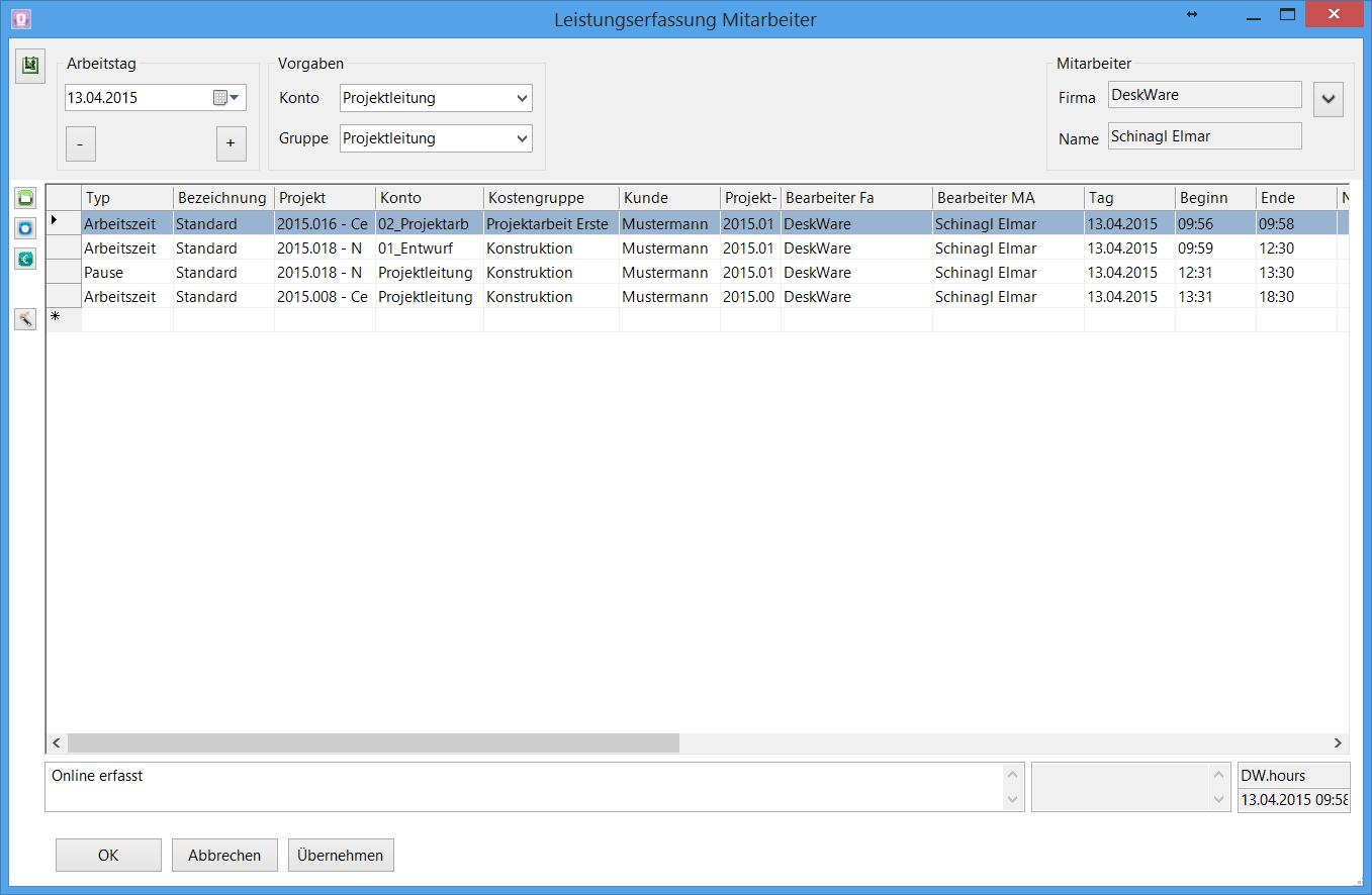 Zeiterfassung - Unternehmenssoftware - DeskWare Products